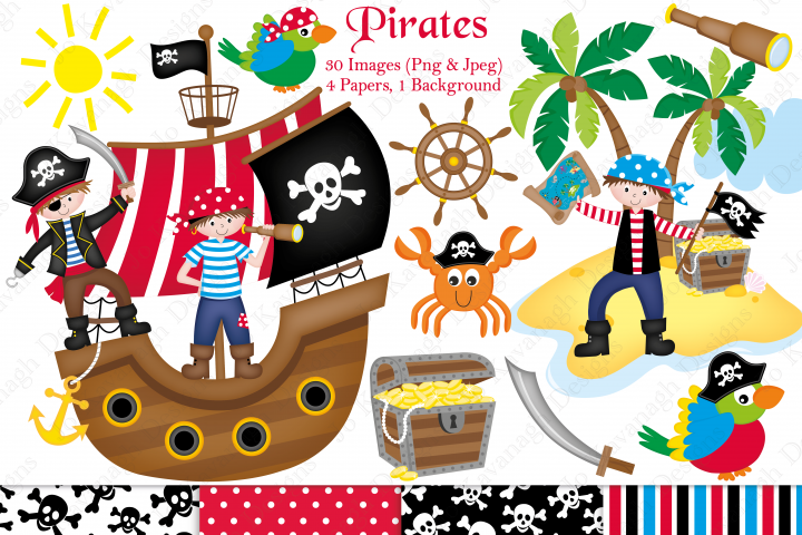 Pirate clipart, Pirate graphics & illustrations, Pirate ship