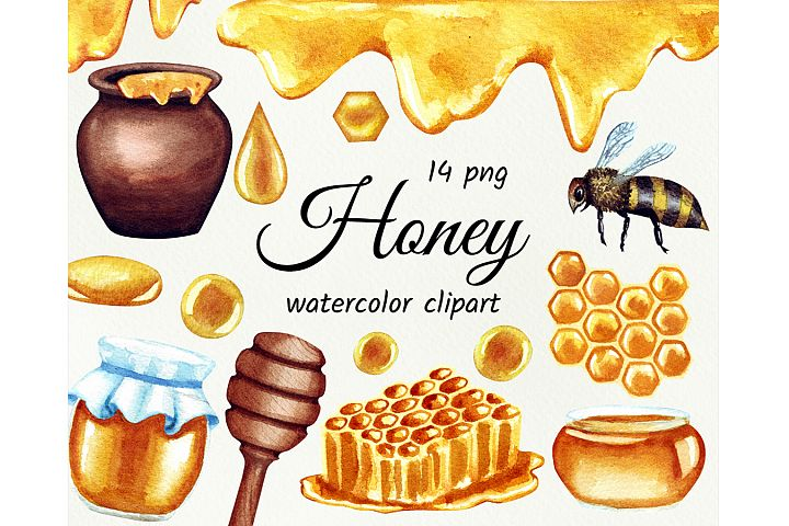 Watercolor honey clipart. Painted pot of honey