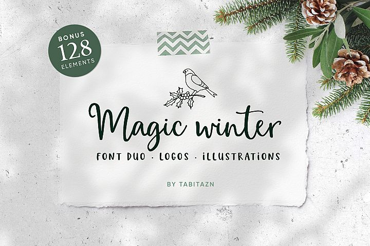 Magic Winter script font duo & logos