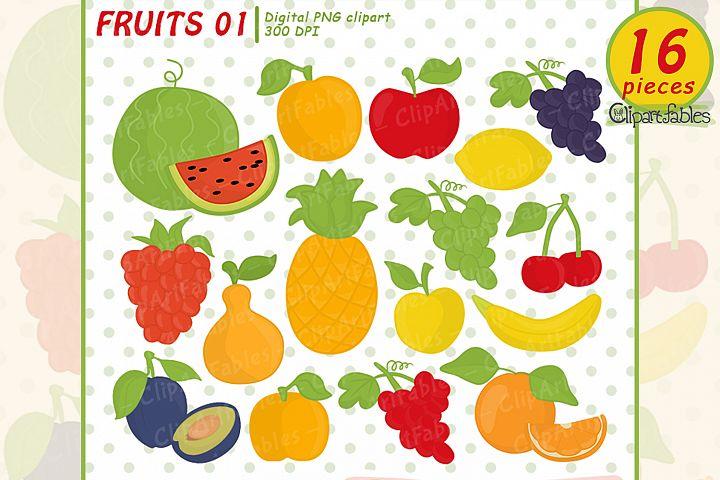 Cute fruits clipart - instant download, digital clip art set