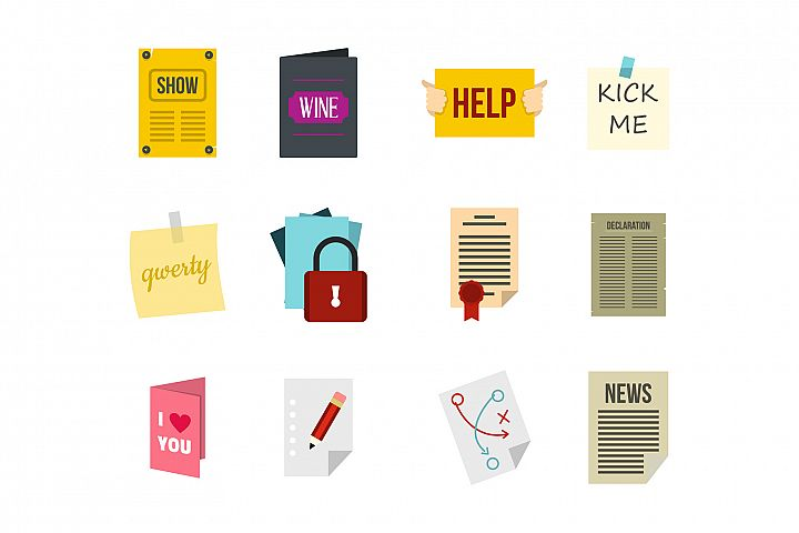 Paper icon set, flat style