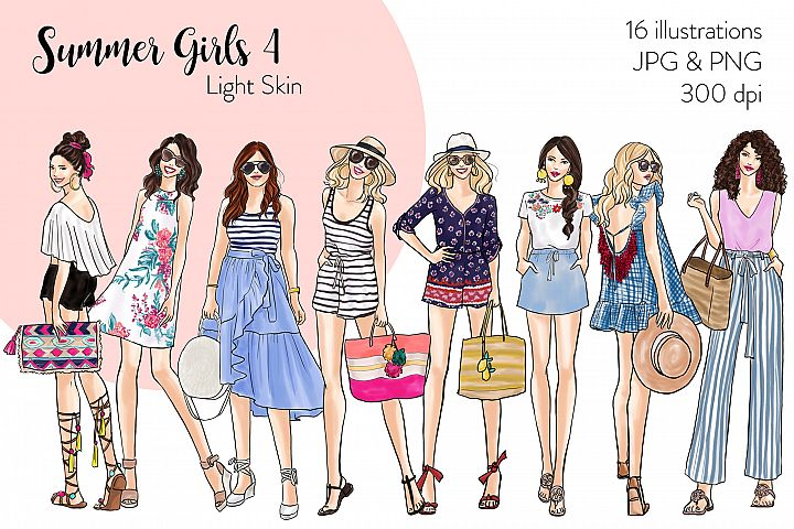 Fashion illustration clipart - Summer Girls 4 - Light Skin