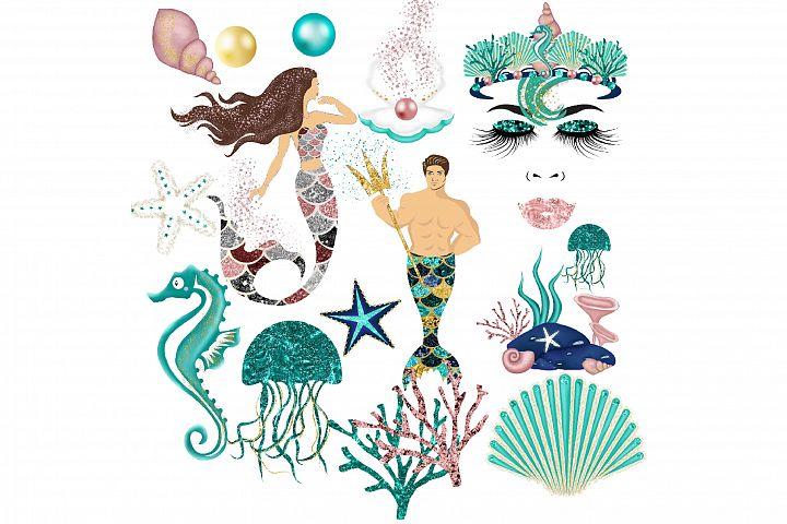 Glitter Mermaids Clipart
