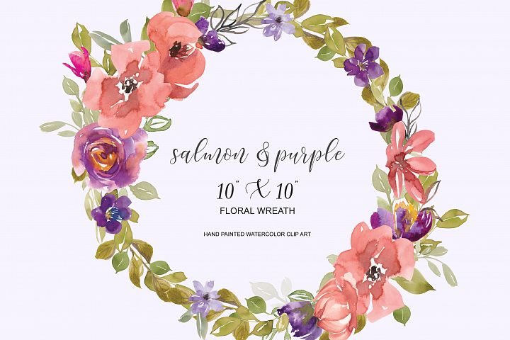 Watercolor Salmon and Purple Flowers Wreath