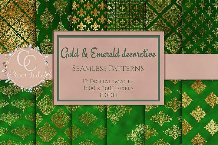Gold and Emerald damask digital paper
