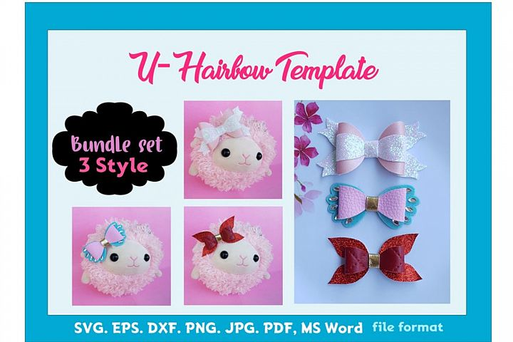 Hair Bow Template Bundle of 3style 2size SVG