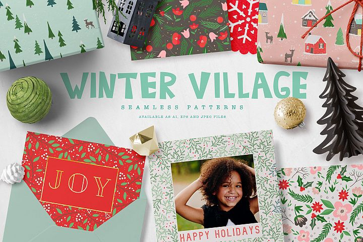 Winter Village Seamless Patterns