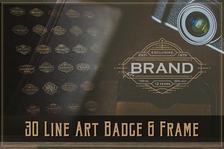 30 Line Art Badge & Frame Label