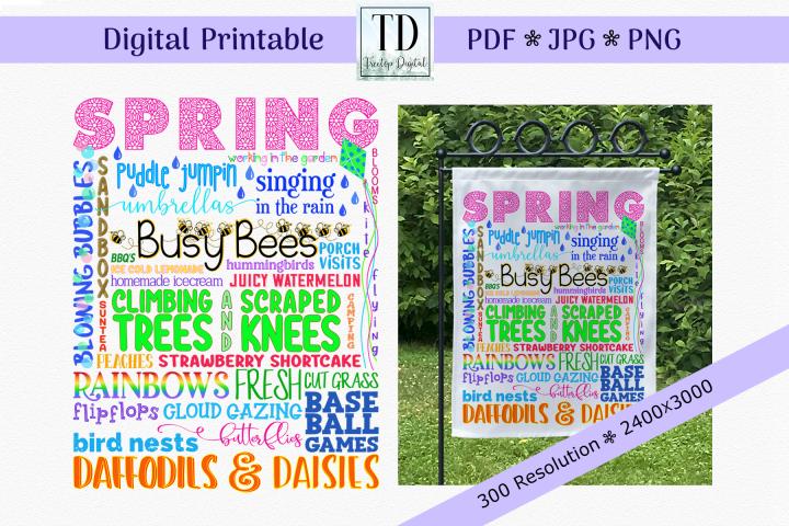 Spring Subway Art, Spring Flag Sublimation, Spring Printable