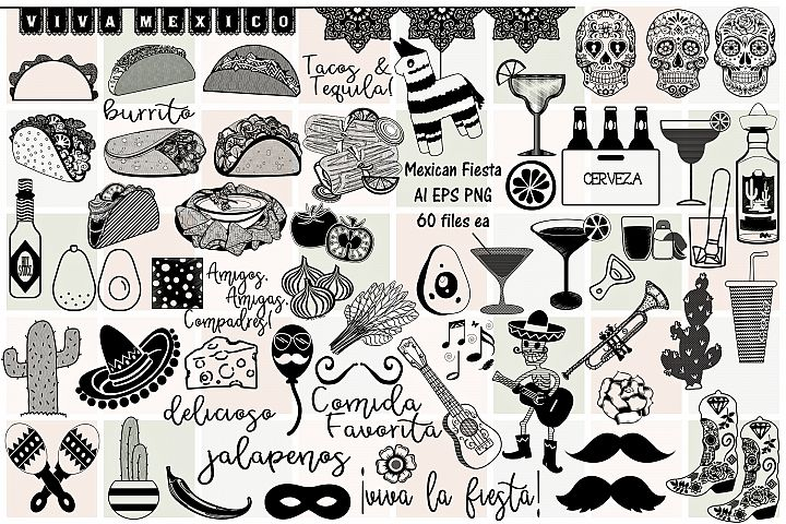 Mexican Fiesta Food Doodles AI EPS PNG