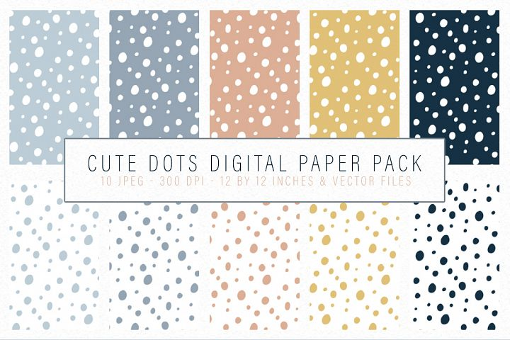 Cute Dots Digital Paper Pack - Seamlessly tiling patterns