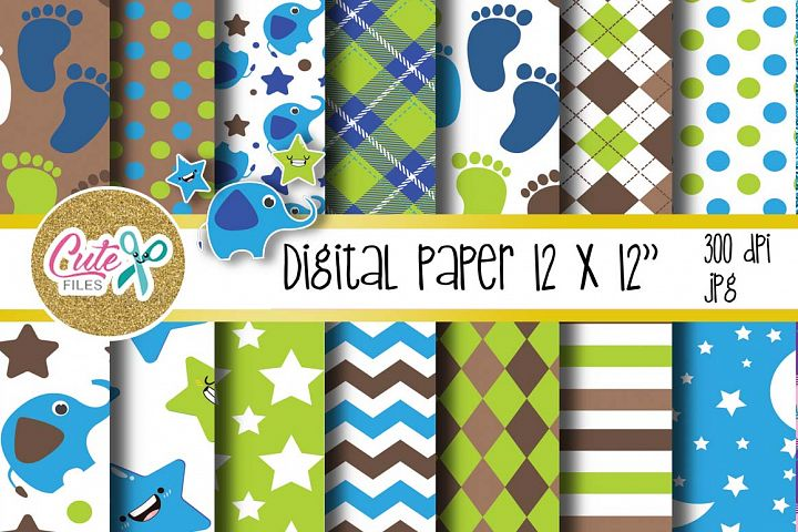 Baby boy paper, polka and chevron digital paper
