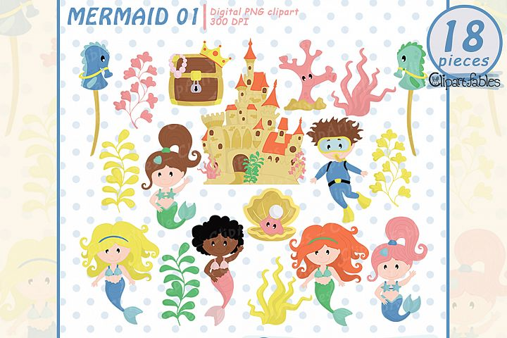 Mermaid clipart, Cute under the sea art, instant download