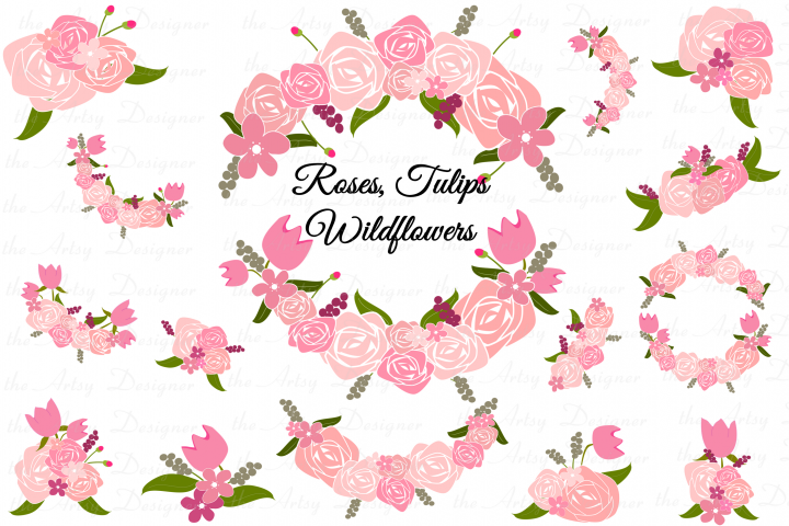 Pink Roses Tulips Flowers Sublimation Clipart Swags Bundle