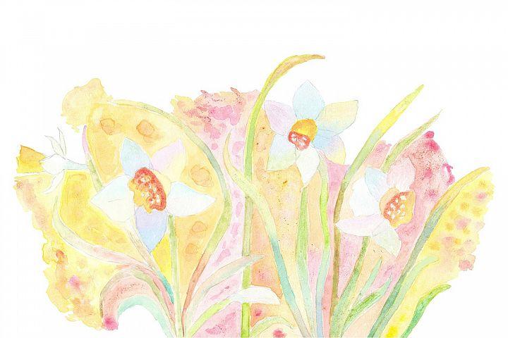 Originally painting narcissus flowers