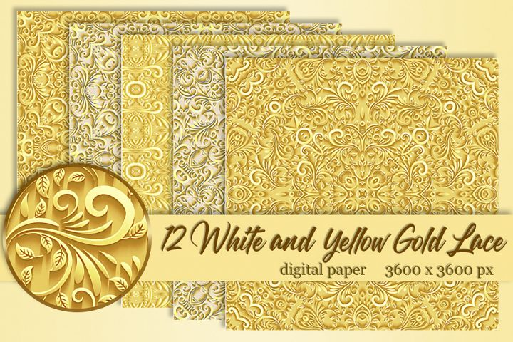12 White and yellow gold lace Wedding lace Digital paper