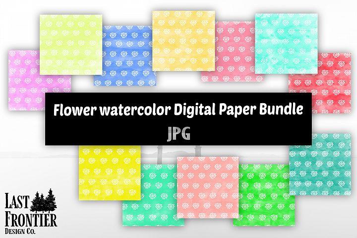 Flower Watercolor digital paper bundle