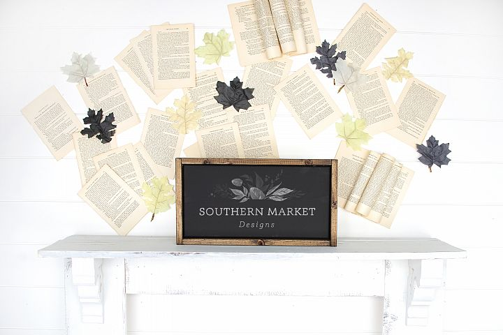 Fall Wood Framed Sign 8x16 Mock Up Photo Stock Photography
