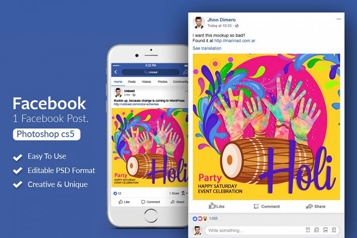 Happy Holi Festival Facebook Post