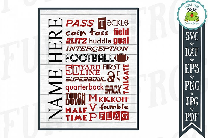 Football Subway Art SVG Cut File for Crafters