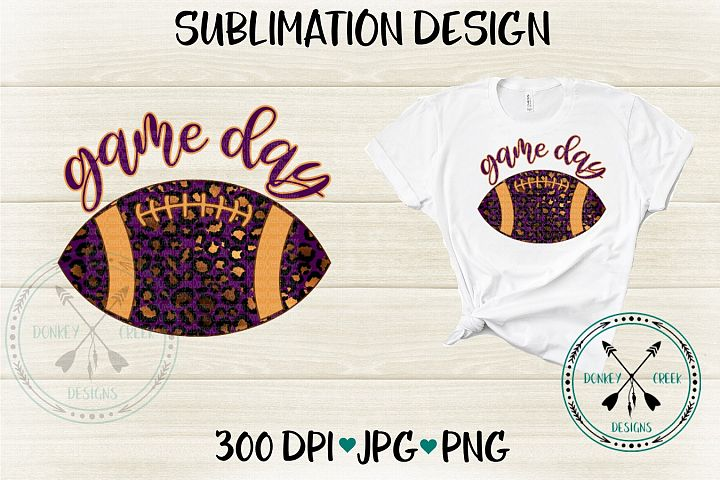 Game Day Leopard Football Sublimation Design