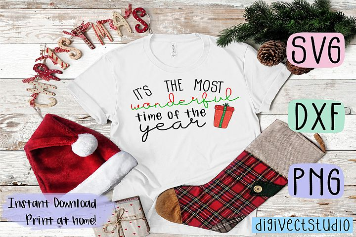 Most wonderful time of the year- SVG, DXF, PNG cut file