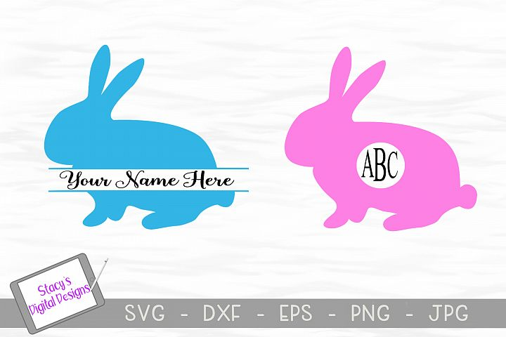 Easter Bunny Monogram SVG - 2 designs