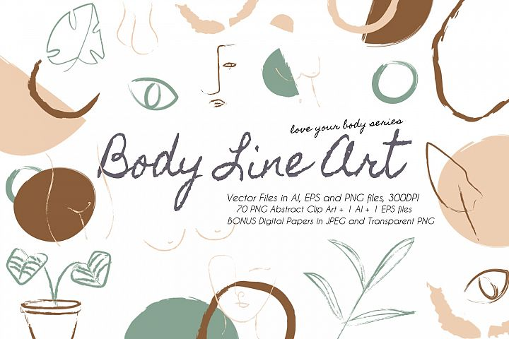 Vector Body Line Art Clip AI EPS PNG Files