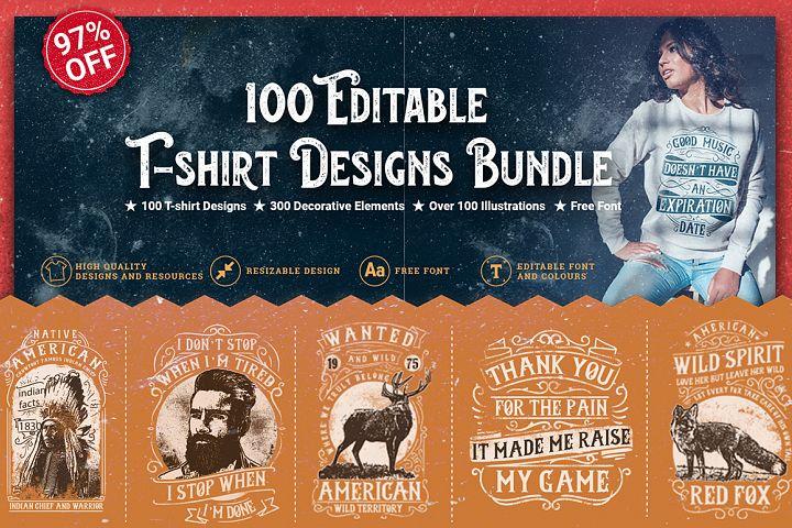100 Editable T-shirt Designs