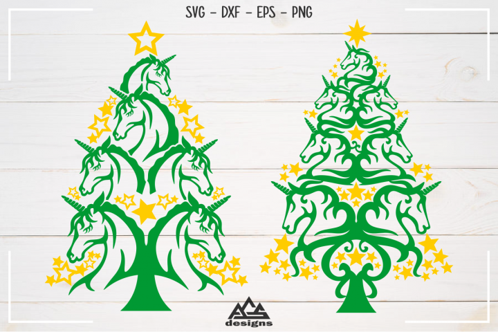 Unicorn Christmas Tree Svg Design