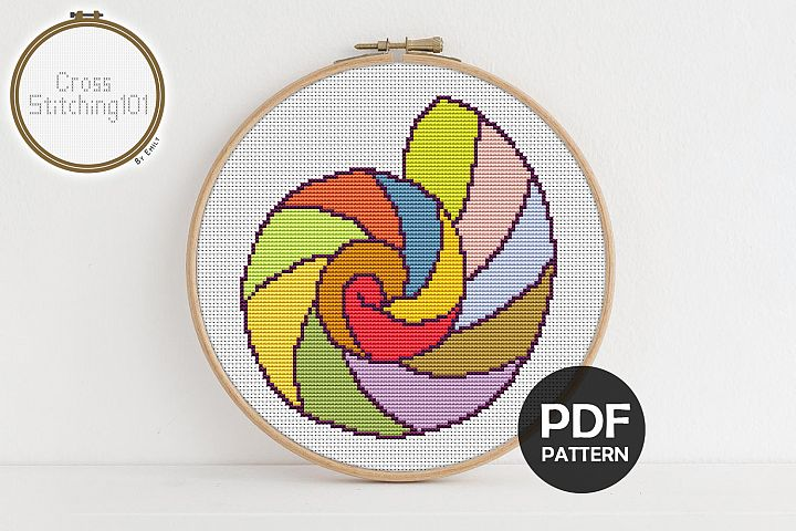 Round Shell Cross Stitch Pattern - Instant Download PDF