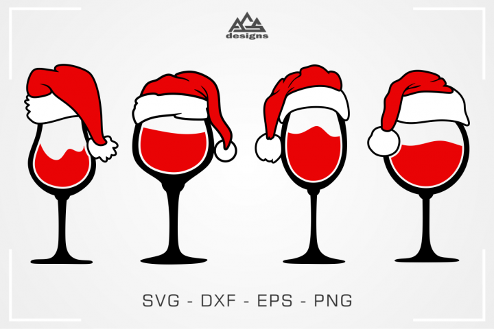 Christmas Santa Wine Glass Svg Design