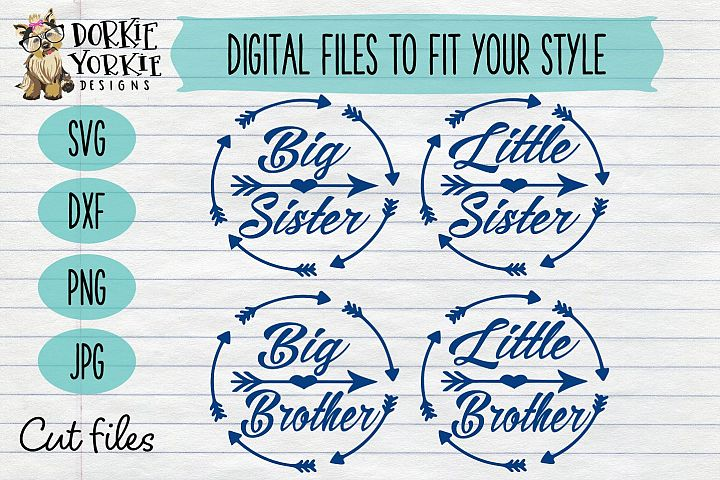 BUNDLE - Big, Little, Sister, Brother Heart Arrow Circle