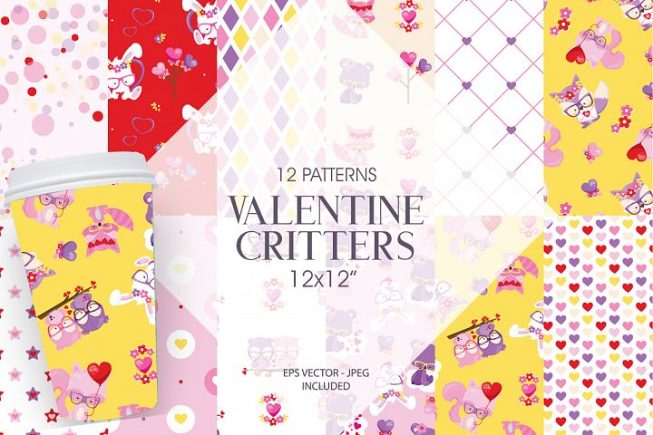 Valentine Critters Papers Graphic and Illustrations
