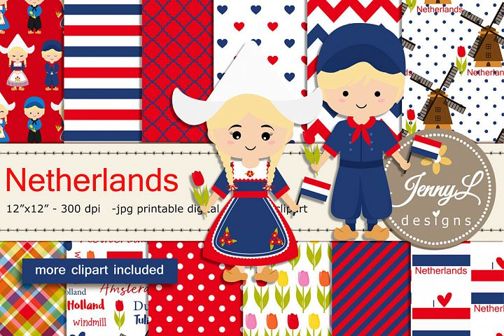Netherlands Digital Papers and Windmill Clipart