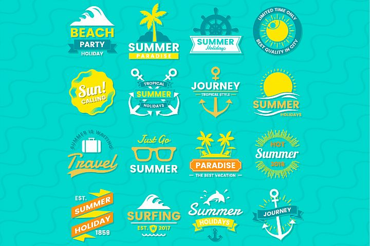 Summer Badge & Objects Vector Set