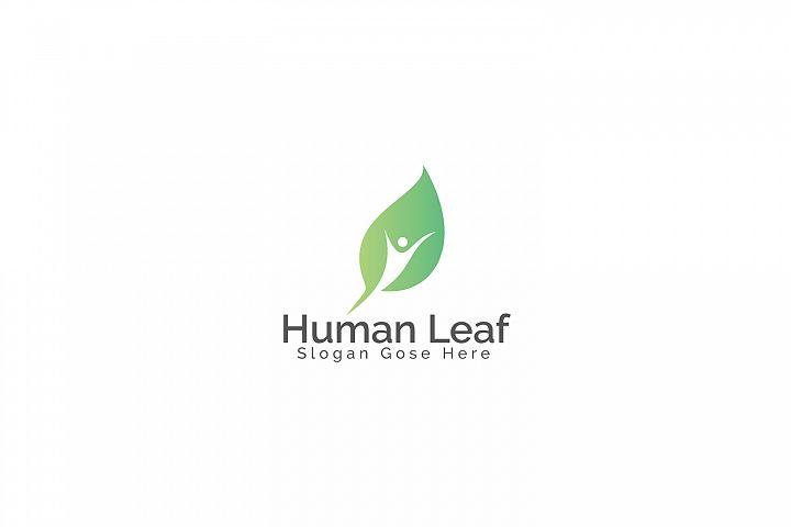 Human Leaf Logo Design.