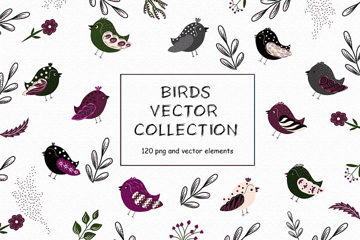 Birds vector collection, Spring Easter clipart, Summer leave