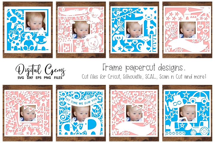 Frame paper cut design bundle. SVG / DXF / EPS / PNG files.