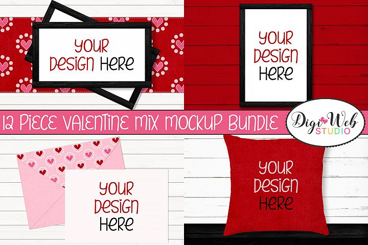 12 Valentine Mockups Bundle -Wood Signs, Pillows, Cards, Mug