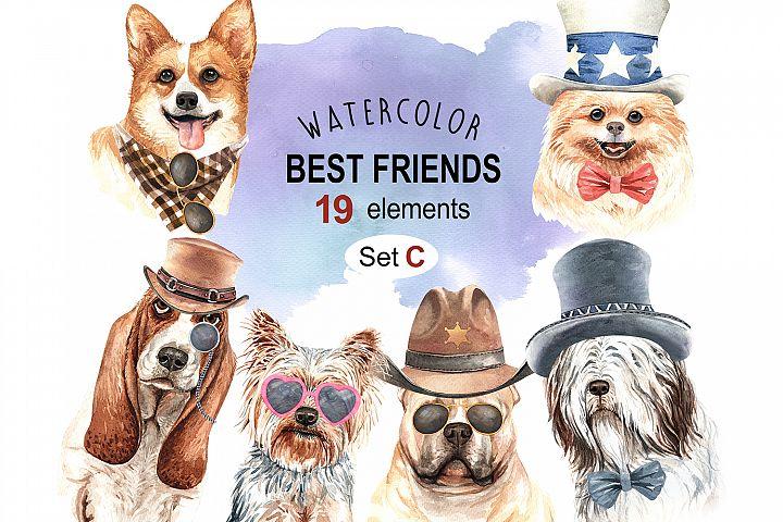 Dog watercolor. Pet clipart Set C