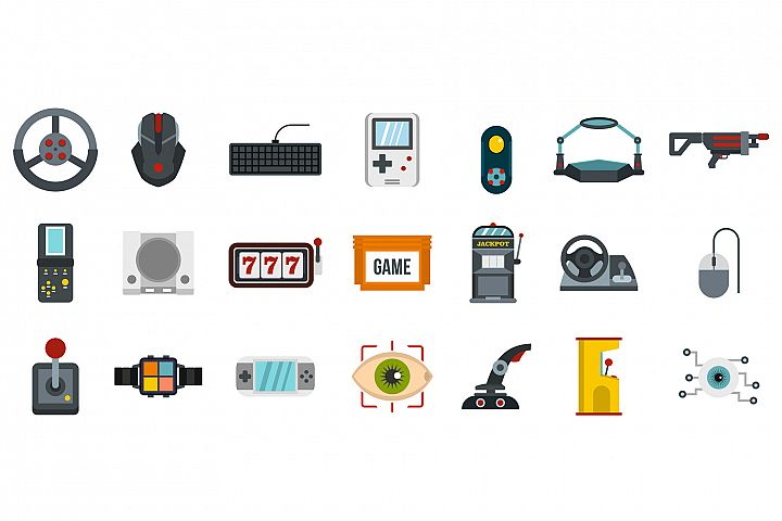 Video game icon set, flat style