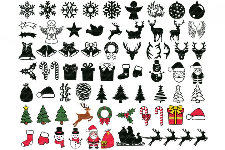 65 Christmas Ornaments Elements SVG, Christmas Clipart PNG.