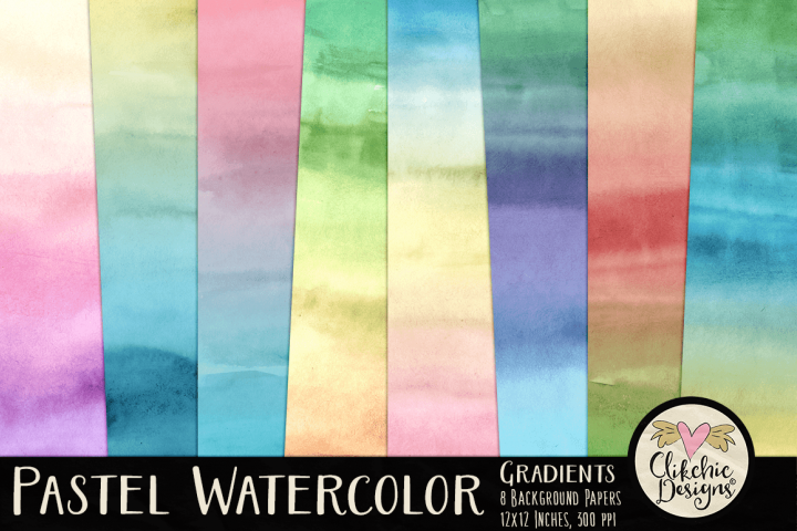 Watercolor Background Textures - Pastel Gradient Papers