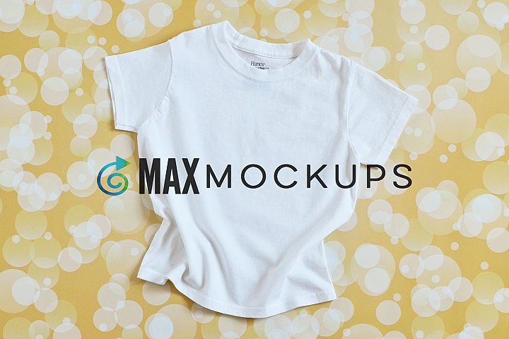 Kids white t-shirt mockup, flatlay, styled photography