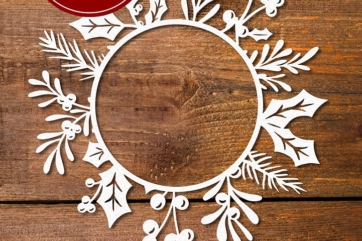 Monogram Christmas Wreath - SVG EPS DXF PNG PDF JPG Cut File example image 6