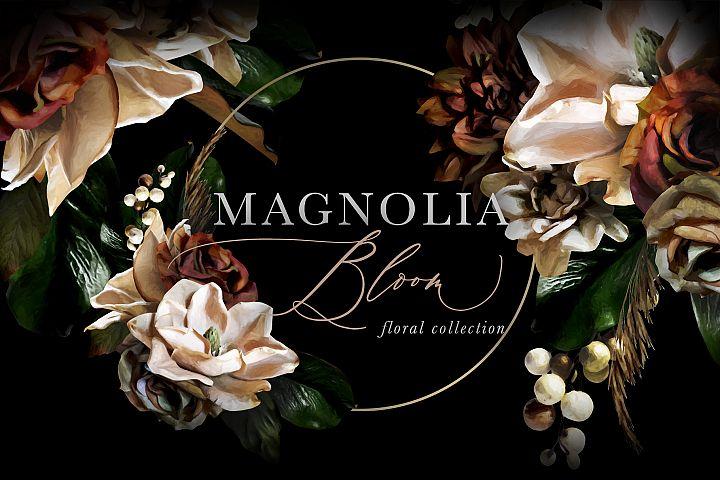 Magnolia Bloom Flowers & Monograms