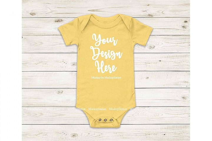 Baby Yellow Bodysuit Mockup, Blank Toddler One Piece Mockup