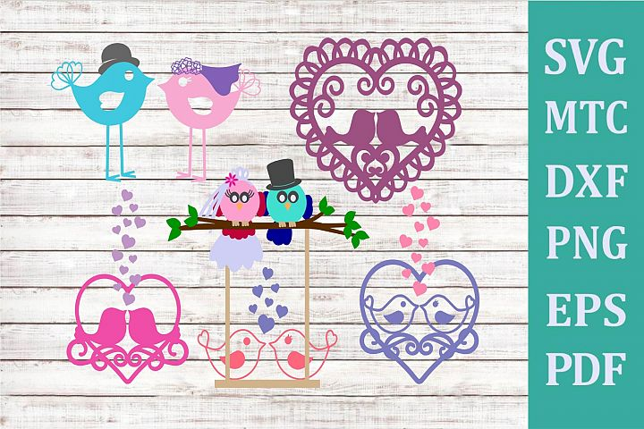 Mr & Mrs Bride Groom Love Bird Hearts Bundle of 6 cut Files