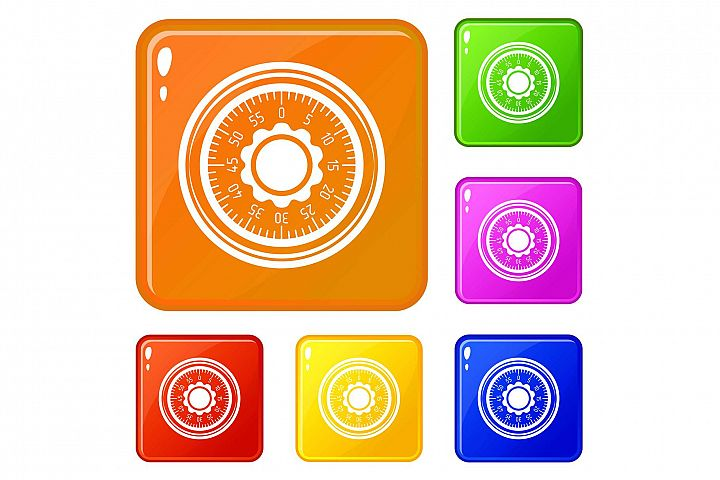 Lock from safe icons set vector color